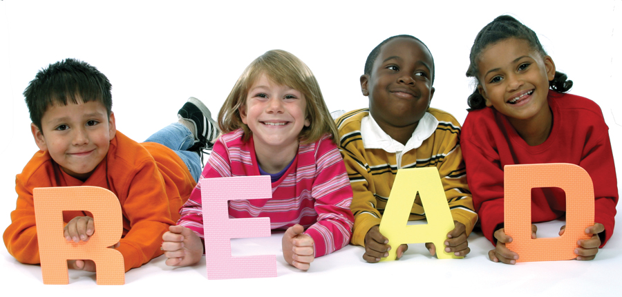 children spell out READ stock photo