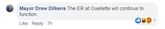 Dilkens comment on Facebook