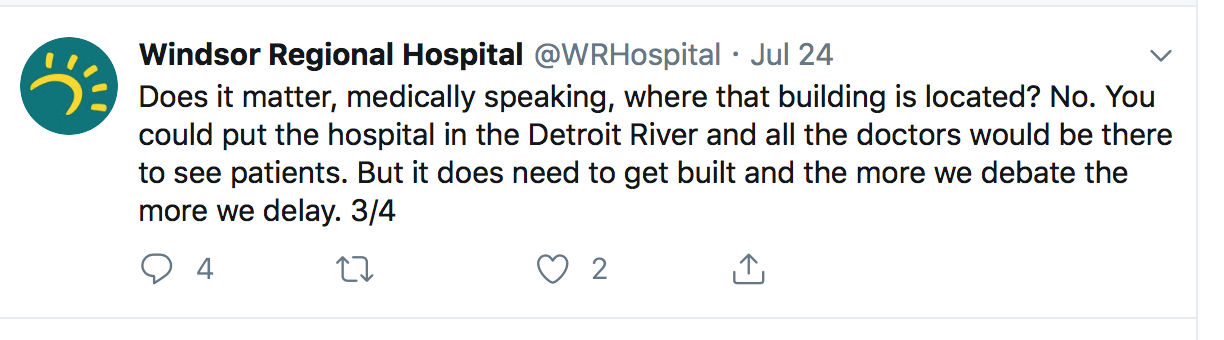 WRH comment that the hospital could be built in the Detroit River