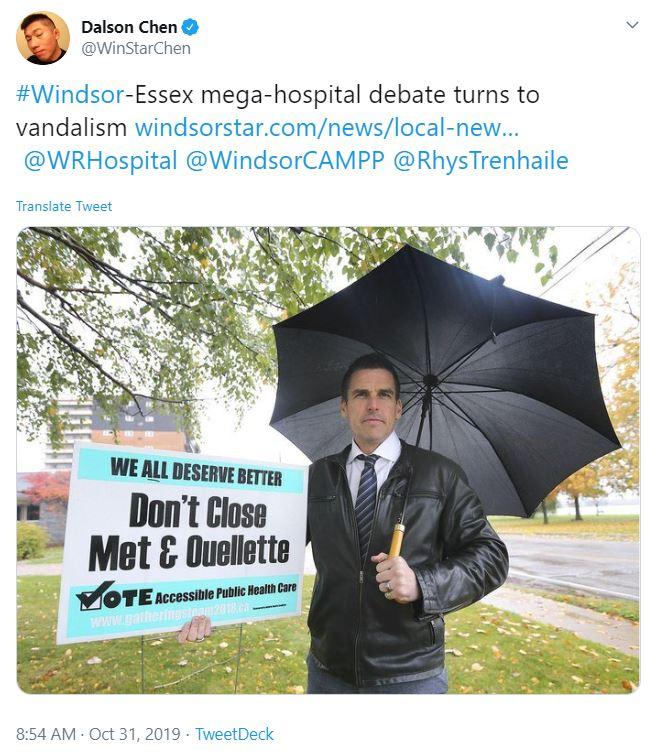 Tweet about sign vandalism