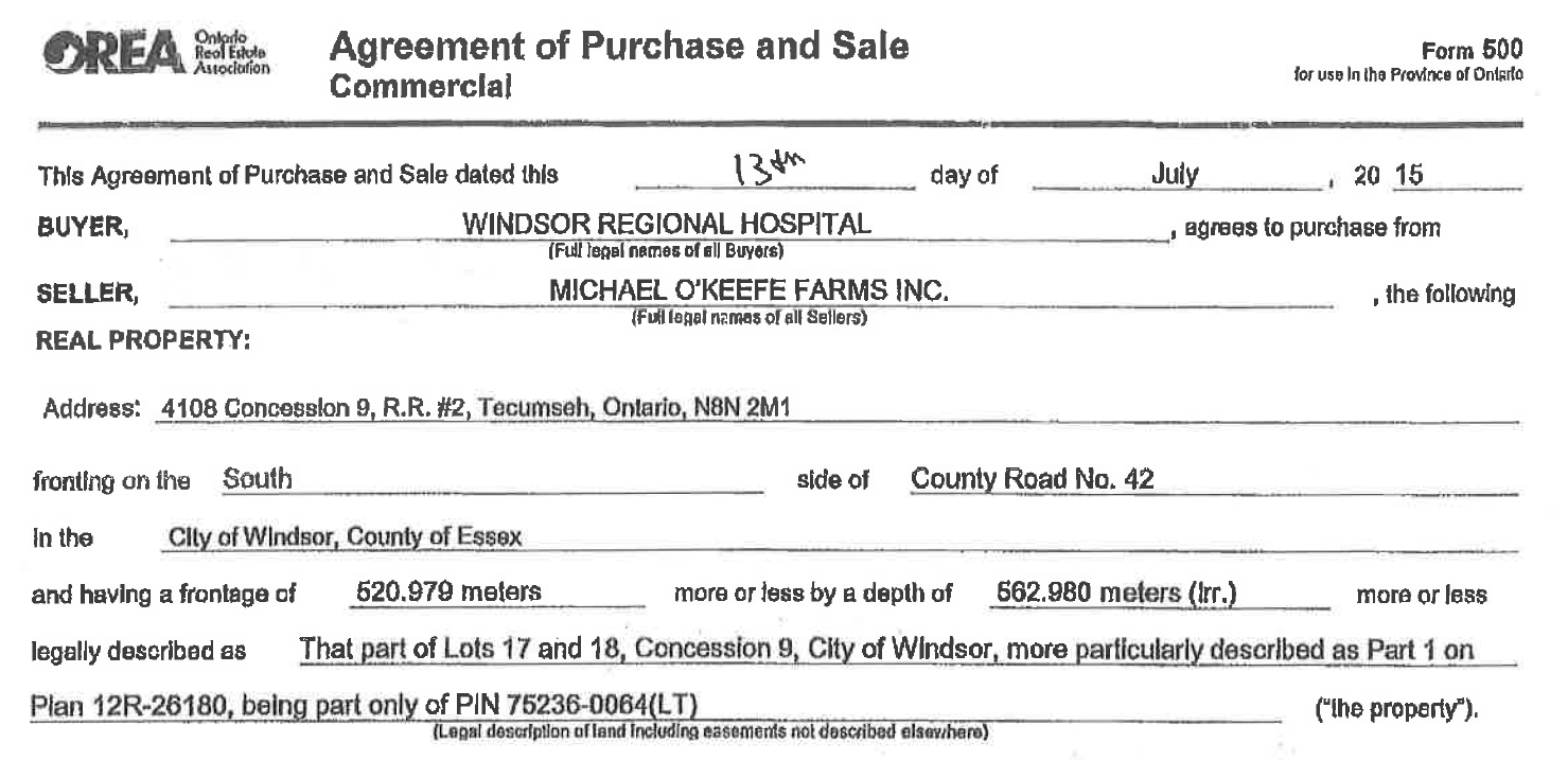 Copy of Agreement of Purchase and Sale