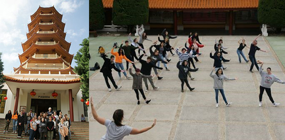 Students pictured outside the Nan Tien Temple and participate in a tai chi class