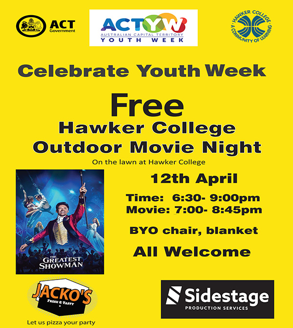 Free Outdoor Movie Night at Hawker College 12 April 6:30-9:00pm
