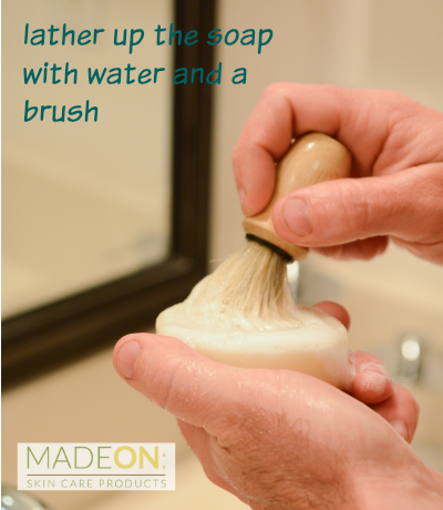 2. Lather up the soap with water and a brush.