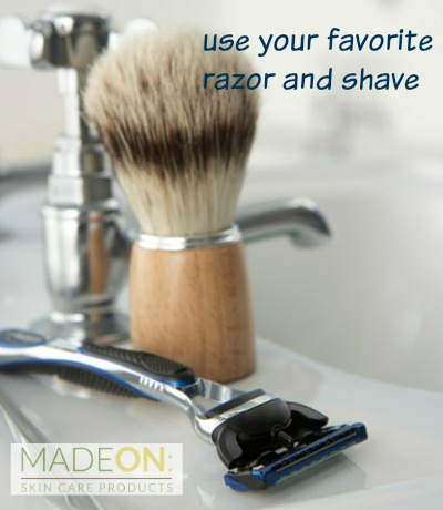 Use your favorite razor and shave.