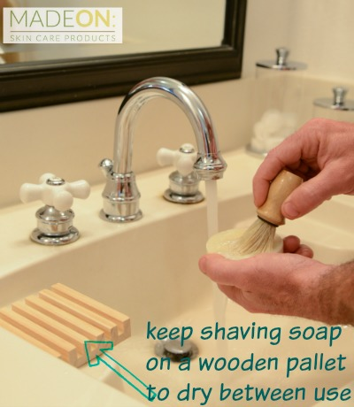 1. Keep shaving soap on a wooden pallet to dry between use.