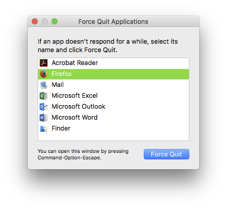 Force Quit in Mac
