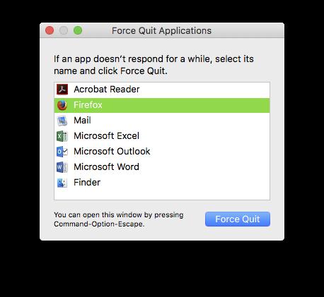 Force Quit in Mac
