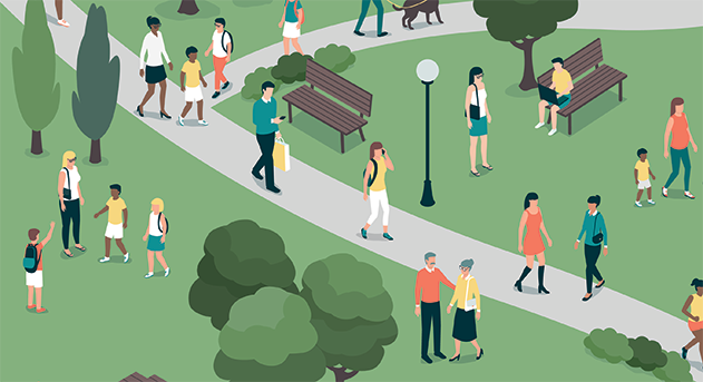 Illustration of people walking in park.