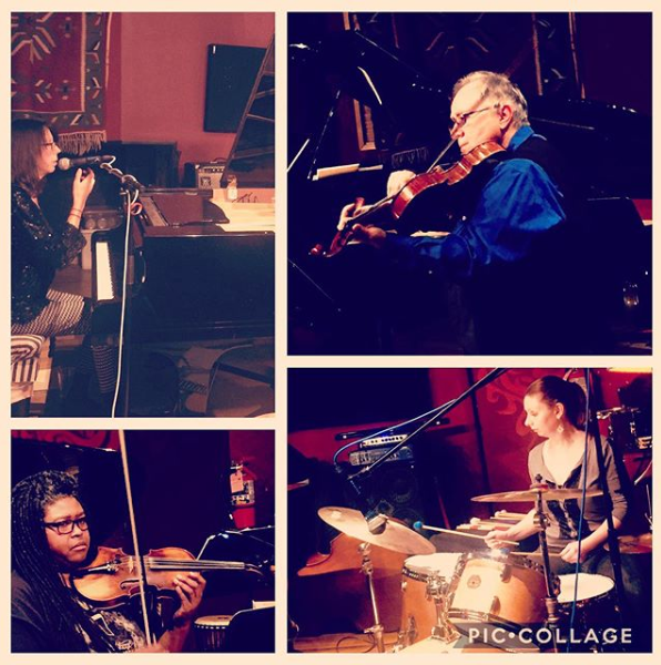 Collage of the band from the CD release show