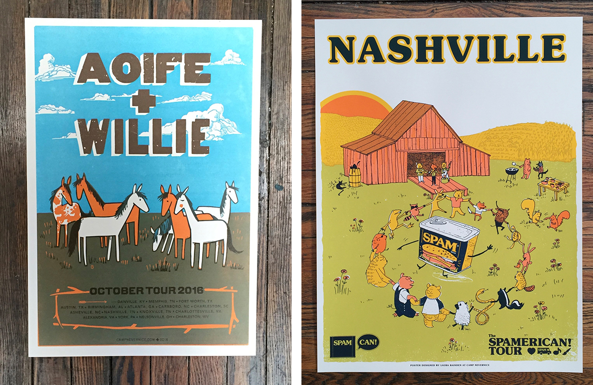 Posters by Laura Baisden of Camp Nevernice