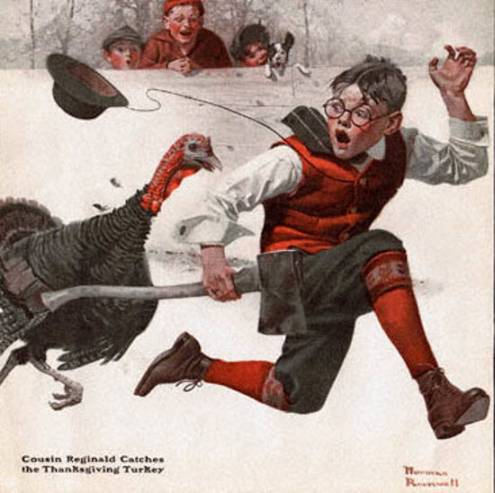 Cousin Reginald catches the turkey