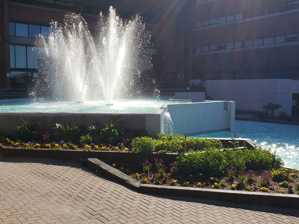 Photograph of Cambrian College fountain