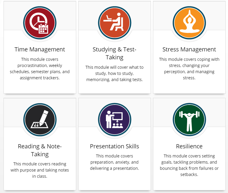Study Skills screenshot from The Learning Portal