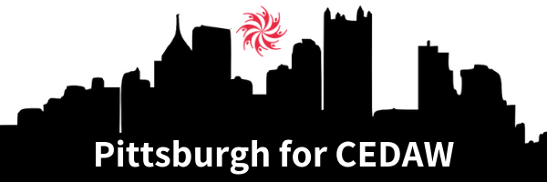 silhouette of Pittsburgh skyline with Cities for CEDAW logo at the top and white text reading Pittsburgh for CEDAW