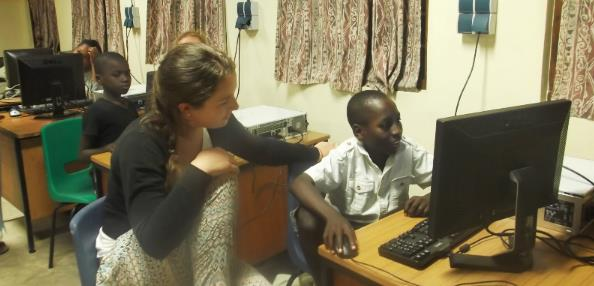 Volunteer teaching computer skills