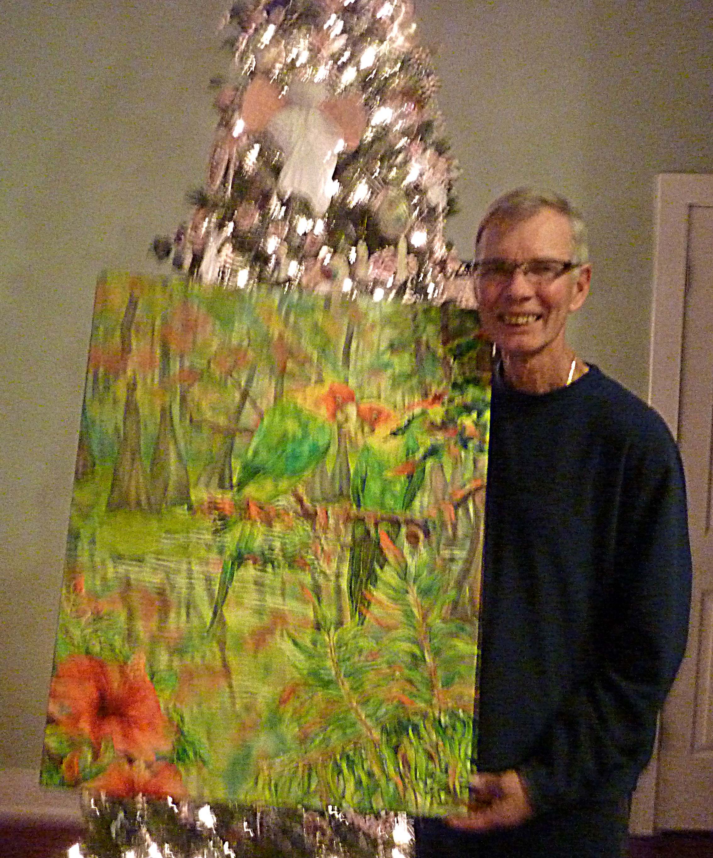 Client with silk painting Carolina Parakeets