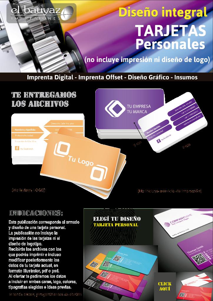Diseño de tarjetas personales básico, en Microcentro