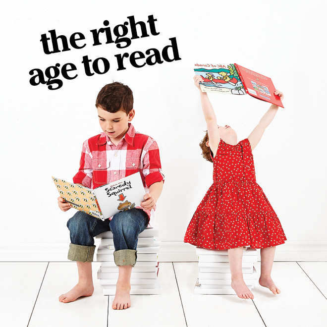 The Right Age to Read: photograph of two children, both holding books in their hands.