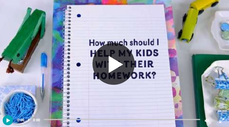 Video still with play button: How much should I help my kids with their homework?