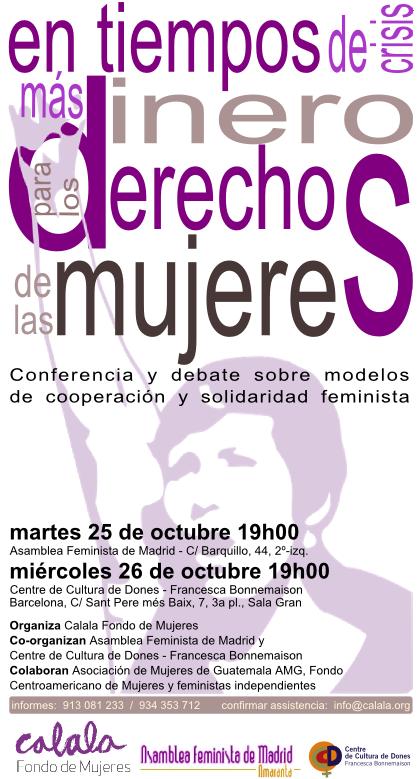 Invitación charla 26 oct Asamblea Feminista de Madrid y 26 de oct Centre Cultura Dones-FB Barcelona