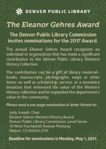 2017 ELEANOR GEHRES AWARD CALL FOR NOMINATIONS