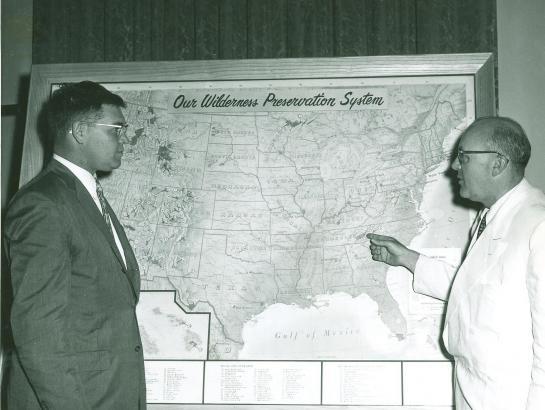 Wilderness Act author Howard Zahniser with Senator Lee Metcalf
