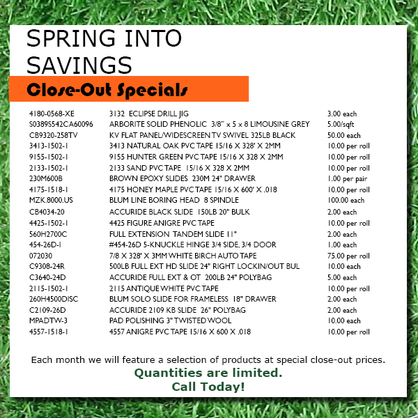 april closeout specials