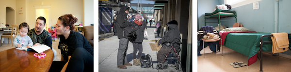 Three images: parents reading to small child, outreach workers talking to person on street, and an empty shelter bed.