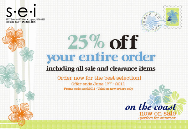 25% Off Your Entire Order at SEI!