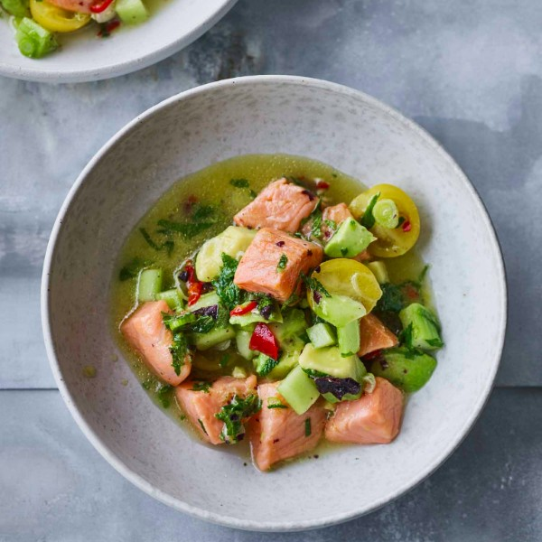 Wild Salmon Ceviche with Lime, Chile and Seaweed