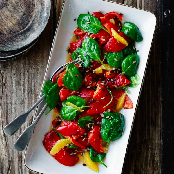 Roasted Red Bell Peppers with Spinach and Orange