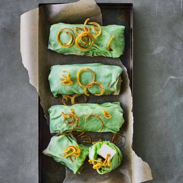 Chile Tofu Rice Paper Rolls with Green Pea Wasabi