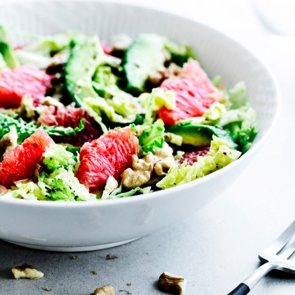 Winter Salad with Savoy Cabbage and red Grapefruit