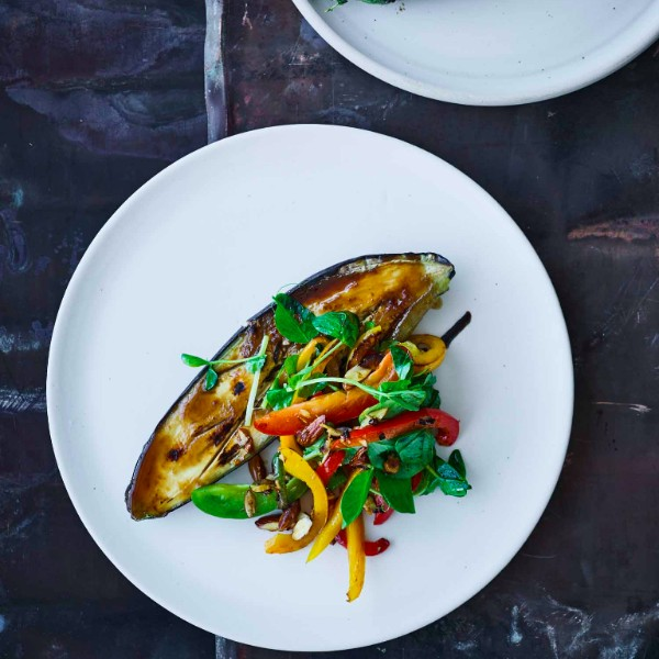 Miso Broiled Eggplant with Pea Shoots and Pepper