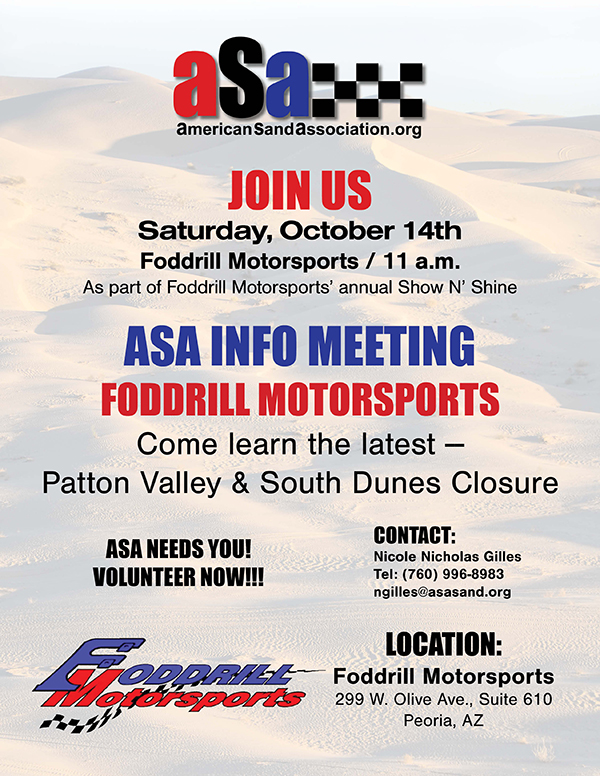 ASA info meeting October 14 at Foddrill Motorsports in conjunction with their Show 'N Shine