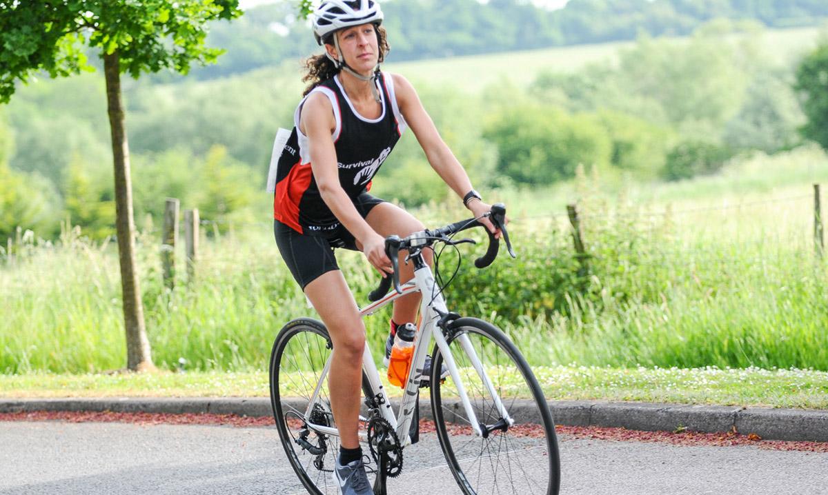 Sarah on her bike