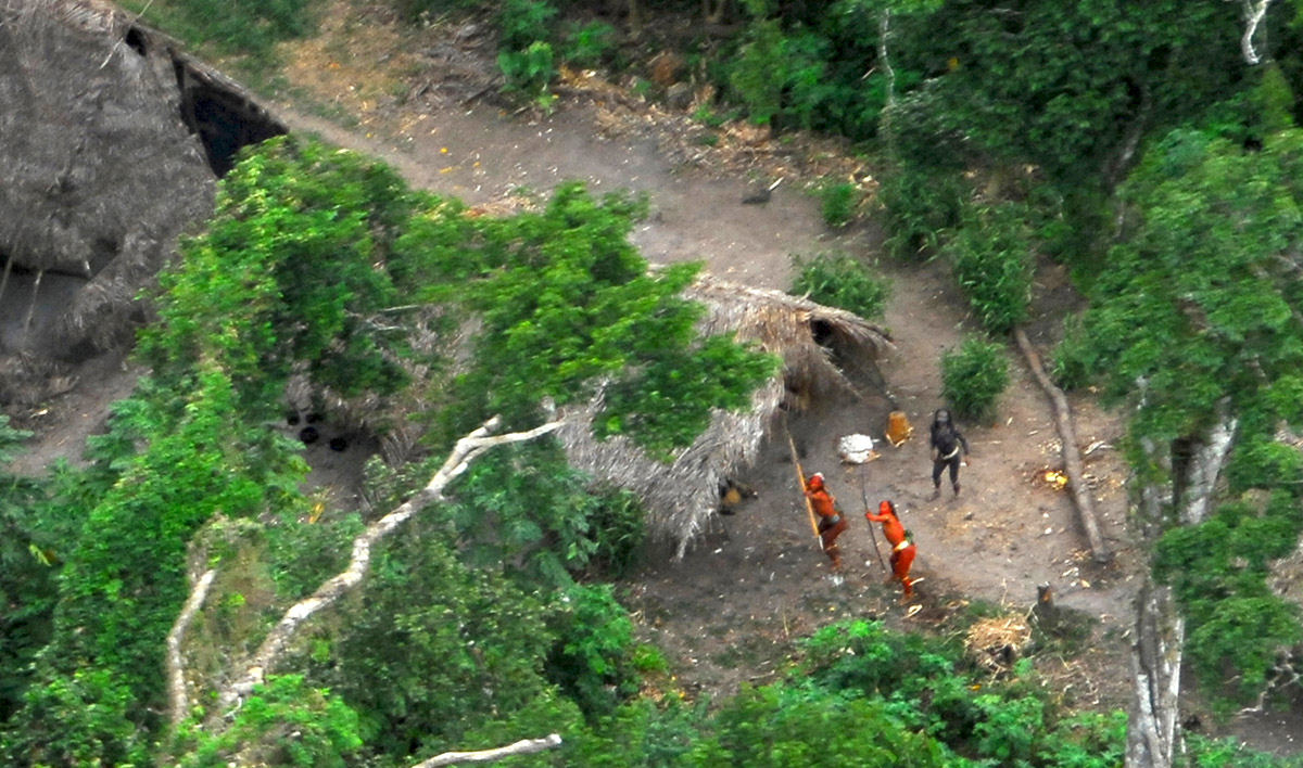 Aerial photo of uncontacted tribe, Brazil