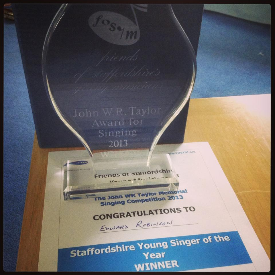 Edward Robinson Staffs Young Singer of the Year