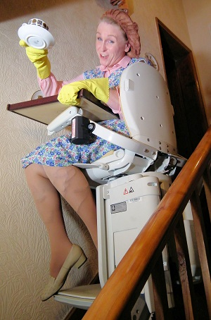 Katie Haywood as Mrs Overall on an Acorn Stairlift