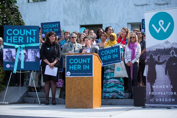 Emily Evans speaks at Count Her In release in Salem
