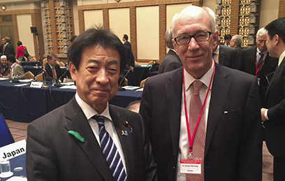 Yasuhisa Shiozaki, Minister of Health, Labour and Welfare, Japan and ReAct's founder and senior advisor, Otto Cars, at the high-level meetings in Tokyo, Japan.