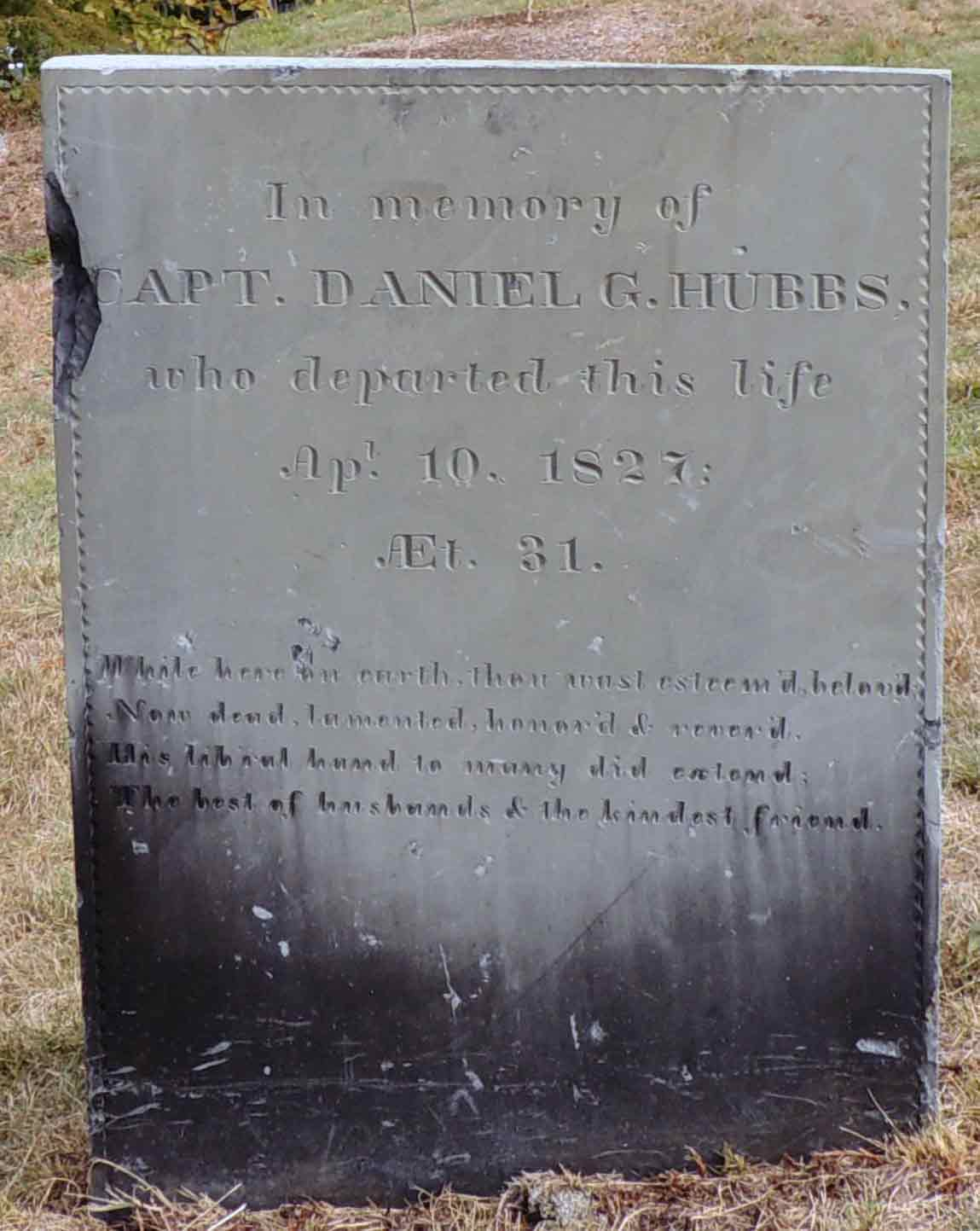 Headstone of Captain Hubbs