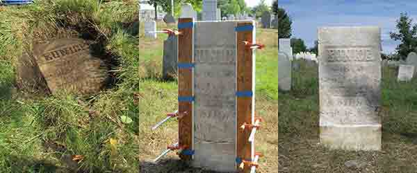 headstone stages from below ground to reset