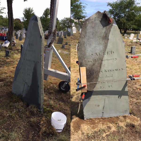 Before and after the Kinsman headstone was repaired