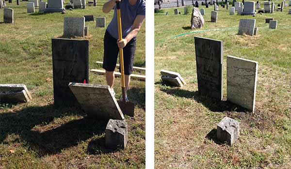 The before and after of a conserved headstone