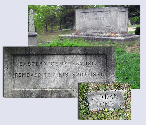 Jordan tombstone and Mussey tomb monument images