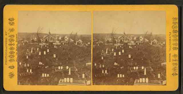 Burial Hill, Plymouth, Massachusetts stereoscope