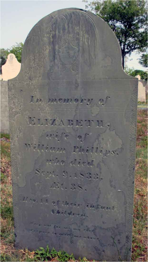 Marble headstone of Elizabeth Phillips