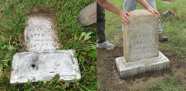 before and after conserving a marble headstone